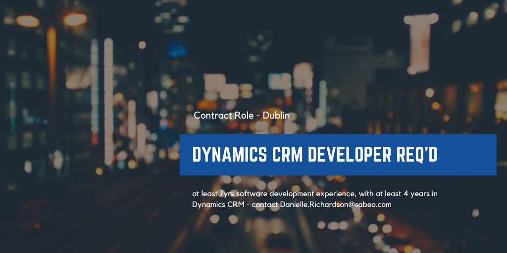 Featured Role – Dynamics CRM Developer